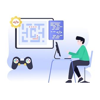 Spielkonsole mit website-codierung flache illustration der spielentwicklung