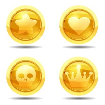 Spielmünze mit stern, herz, schädel, krone, spielschnittstelle, gold einstellen.
