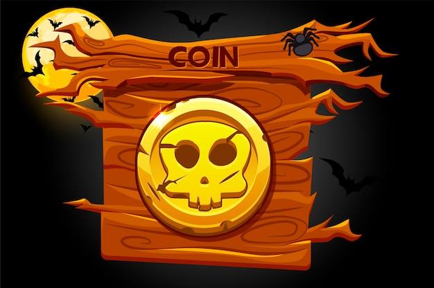 Spielmünzensymbol, unheimlicher schädel auf hölzernem banner. illustration der unheimlichen halloween-nacht, des mondes und der fledermaus.