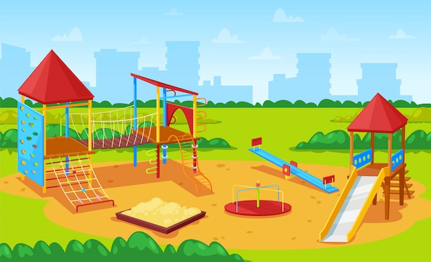 Spielplatz für kinder stadtbild, city yard park