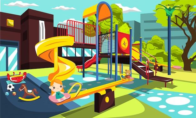Spielplatz im schulpark für kinder mit schaukel und rutschen, kinderspielzeug, wirbelnde lustige wippe