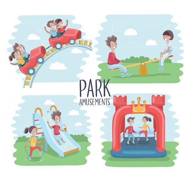 Spielplatz infografik elemente illustration, kinder spielen im freien, im sandkasten, jungen und mädchen gehen für eine fahrt auf einer schaukel. mutter geht mit kindern spazieren