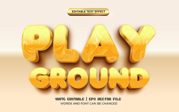 Spielplatz kinder 3d editierbarer texteffekt glänzender cartoon-stil