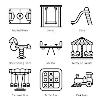 Spielplatz linie icons pack