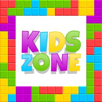 Spielplatzlogo der kinderzone. vektorplakatkarikaturdesign für spaßkinderparty mit spielzeugziegelsteinkonzept