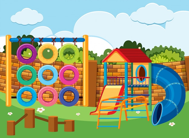 Spielplatzszene mit kletterstation und rutschen