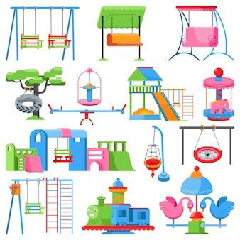 Spielplatzvektor scherzt park, um das schwingenplättchen zu spielen, das für spaßillustrationssatz im freien ist