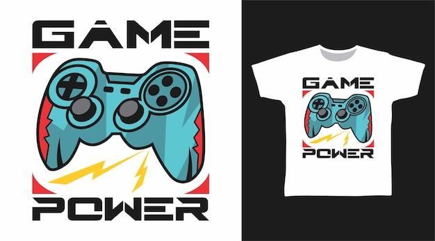 Spielpower mit joystick-t-shirt-design