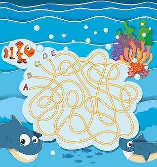 Spielschablone mit den fischen unterwasser