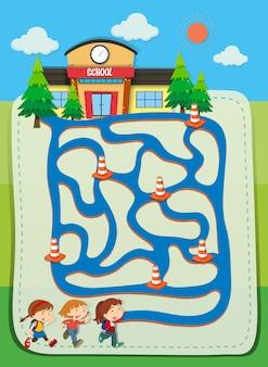 Spielschablone mit den kindern, die zur schule gehen