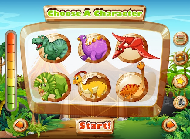 Spielschablone mit dinosauriercharakteren