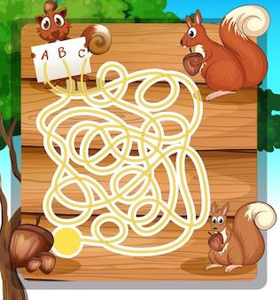 Spielschablone mit eichhörnchen und nüssen