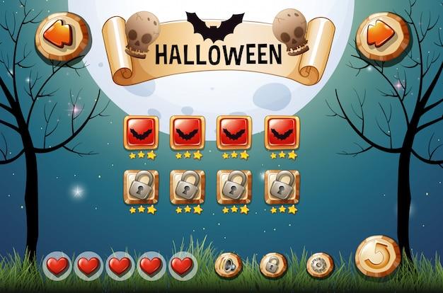 Spielschablone mit halloween-thema