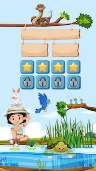 Spielschablone mit kind und tieren im hintergrund