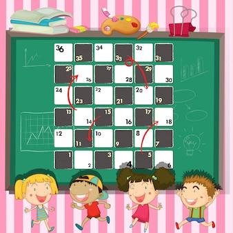 Spielschablone mit kindern im klassenzimmer