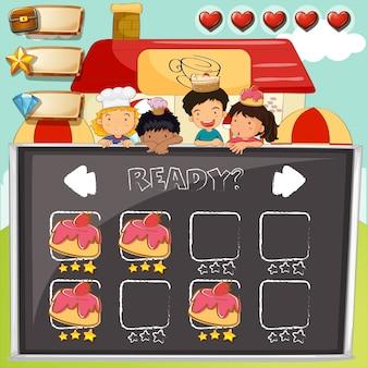 Spielschablone mit kindern und kuchen