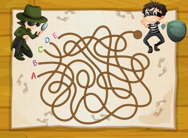 Spielschablone mit spion und verbrecher