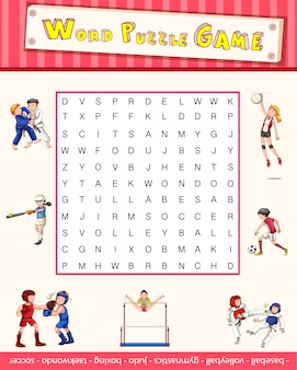 Spielschablone mit wortpuzzlespiel über sport