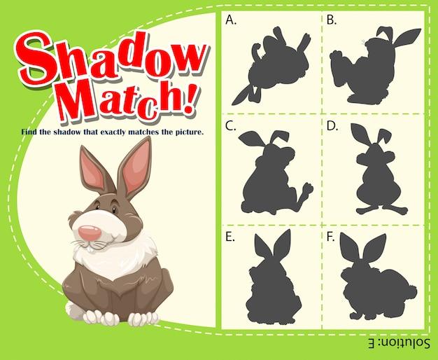 Spielschablone mit zusammenpassendem kaninchen