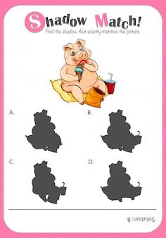 Spielschablone mit zusammenpassendem schwein des schattens