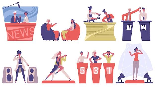 Spielshow im fernsehen. musik, kulinarische und talk-tv-shows, tv-medienmoderatoren, host-interview-vektor-illustrationsset. tv-unterhaltungsshow