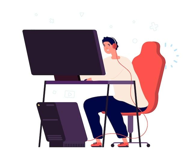 Spielsucht. vektorspielercharakter lokalisiert auf weißem hintergrund. mann spielt computerspiele Premium Vektoren