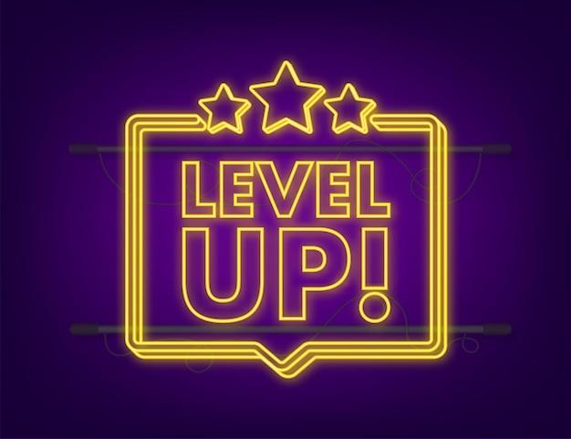 Spielsymbol-bonus. level-up-symbol, neues level-logo. neon-symbol. vektor-illustration.