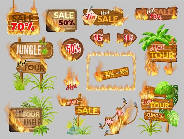 Spieltafeln aus holz mit flammenbrand