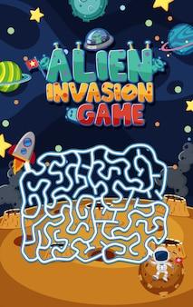 Spielvorlage mit alien-invasion und labyrinth im weltraumhintergrund