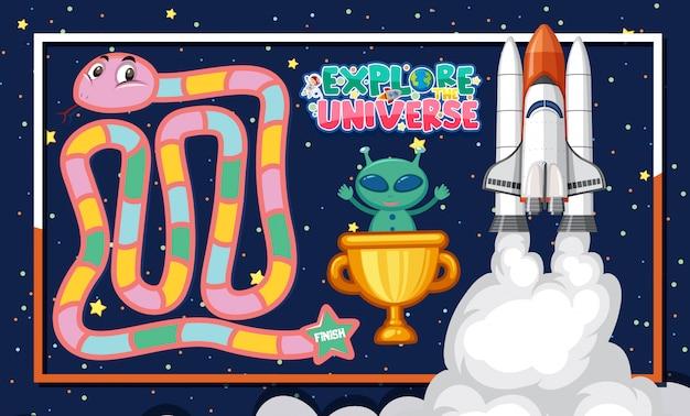 Spielvorlage mit alien und raumschiff