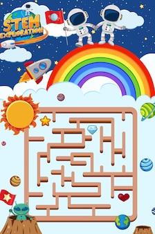 Spielvorlage mit astronauten, die auf dem regenbogen stehen