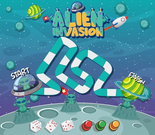 Spielvorlage mit außerirdischen auf dem planeten