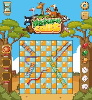 Spielvorlage mit bäumen und tieren