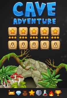 Spielvorlage mit höhlenabenteuerthema