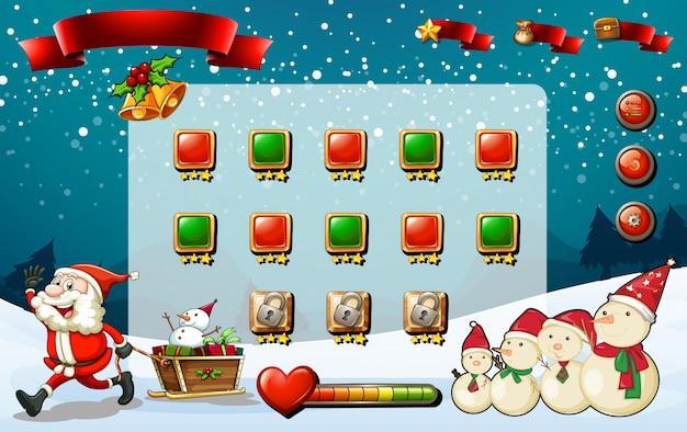 Spielvorlage mit santa und schneemann