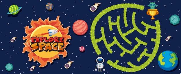 Spielvorlage mit vielen planeten