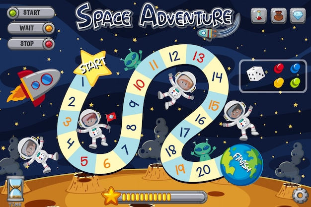 Spielvorlage mit vier astronauten und zwei außerirdischen