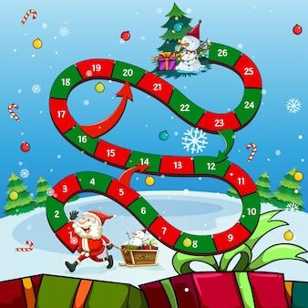 Spielvorlage mit weihnachtsmann und baum