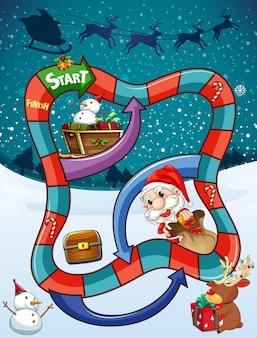 Spielvorlage mit weihnachtsmann und geschenken