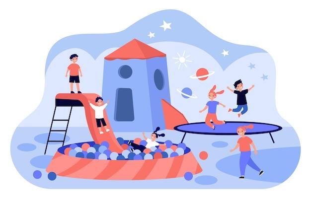 Spielzentrum für kinder flache illustration
