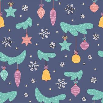 Spielzeug am weihnachtsbaum. neujahrsbälle. nahtloses muster für weihnachtsdekoration.