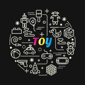 Spielzeug bunten farbverlauf mit linie icons set