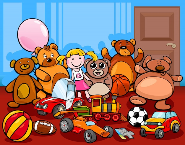 Spielzeug gruppe cartoon illustration