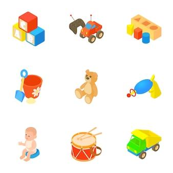 Spielzeug-set, cartoon-stil