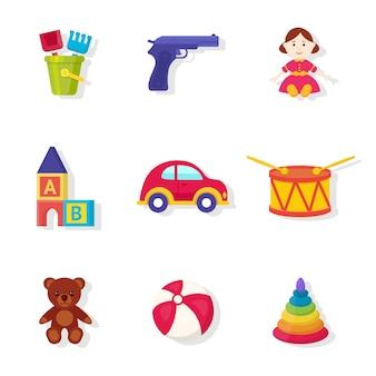 Spielzeug shop sortiment illustrationen gesetzt. spielzeug für mädchen und jungen cartoon cliparts sammlung. nettes weiches plüschbärenelement. bildungswürfel und pyramide für kleinkinder