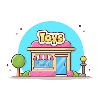 Spielzeug-shop-vektor-ikonen-illustration. gebäude-und markstein-ikonen-konzept-weiß lokalisiert