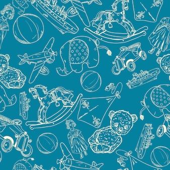 Spielzeug skizzieren blaues nahtloses muster