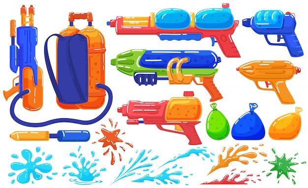 Spielzeug wasserpistolen zu spielen, spaß pistole und ballons, spielspray auf weißen satz von cartoon-illustration.