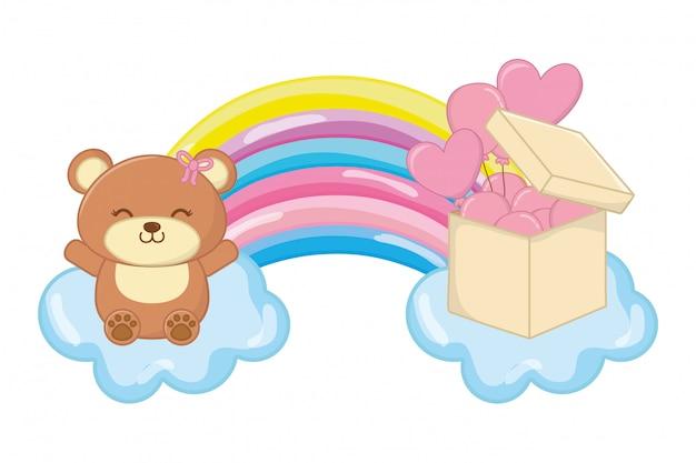 Spielzeugbär und regenbogenvektorillustration