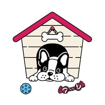 Spielzeugballkarikatur der französischen bulldogge des hundehauses